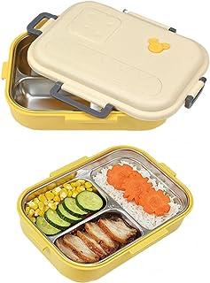 800 ml Bento Box, Boîte à Repas avec Trois Compartiments, Anti-Fuite Bento Box, Boîte à Bento L'acier Inoxydable, Convient...