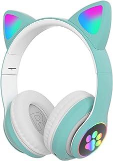 NINEFOX Audífonos inalámbricos para juegos sobre la oreja de gato auriculares para niños adultos plegables LED estéreo control de volumen auriculares para PC, tableta, radio FM, regalo Buetooth 5.0 música HiFi (verde)