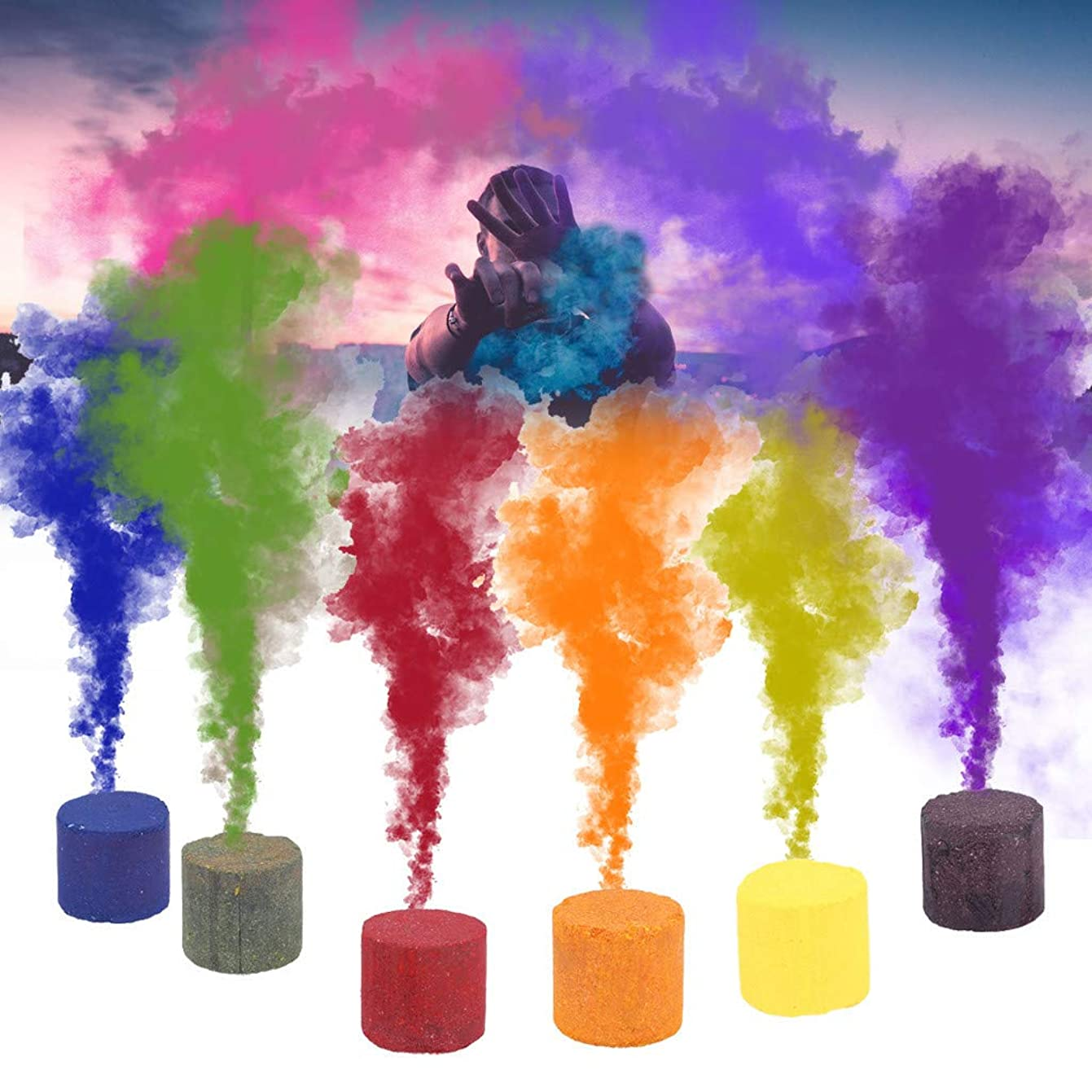 質量証言耐えるスモークケーキ型 - カラースモークケーキラウンド広告映画スタジオ写真の小道具映画ステージパフォーマンスパーティー煙効果 (ブルー、グリーン、オレンジ色、紫色、赤、イエロー, 6PCS)
