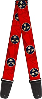 Buckle-Down Guitar Strap - Tennessee Flag Stars CLOSE-UP Distressed - 2