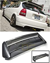 Extreme Online Store Replacement for 1996-2000 Honda Civic 3Dr Hatchback | EOS Seeker V2 Style Carbon Fiber Rear Roof Lip Wing with Primer Black Type-R Base Spoiler
