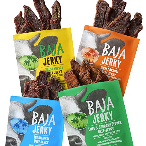 Baja Beef Jerky Sampler Pack | Gluten Free Craft Jerky, 25g Protein, Low Calorie, 100% All-Natural Beef, No Nitrates | 4 pack 2.5 Oz Bags