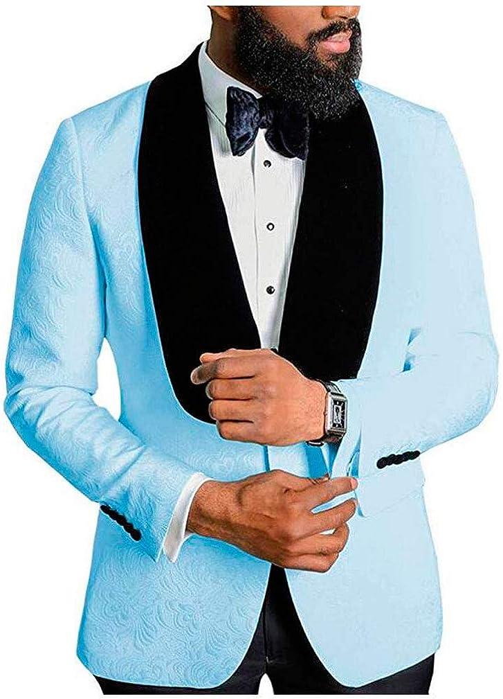 Men's Shawl Lapel Light Blue Floral Blazer One Button Regular Fit Prom Party Jacket Dinner Coat Light Blue 48/42