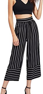 2018 Wide Leg Pants,Women Sexy High Waist Stripe Print Floral Crop Pants by-NEWONESUN