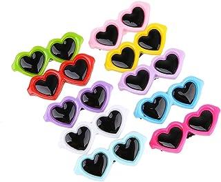InnerSetting Pinzas para el Pelo de Perro, 10 Unidades/Set de Lazos para Mascotas con Forma de corazón, Gafas de Sol para Mascotas
