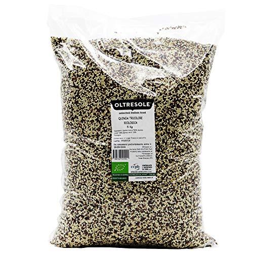 Oltresole - Quinoa Tricolore Biologica 5 Kg - mix di quinoa rossa bianca e nera bio, superfood naturalmente gluten free, confezione convenienza