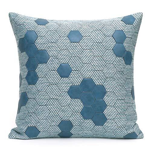 Tylyund Funda de cojín decorativa de almohada moderna artística geométrica azul de panal de abeja de la pu patchwork sofá silla ropa de cama primo