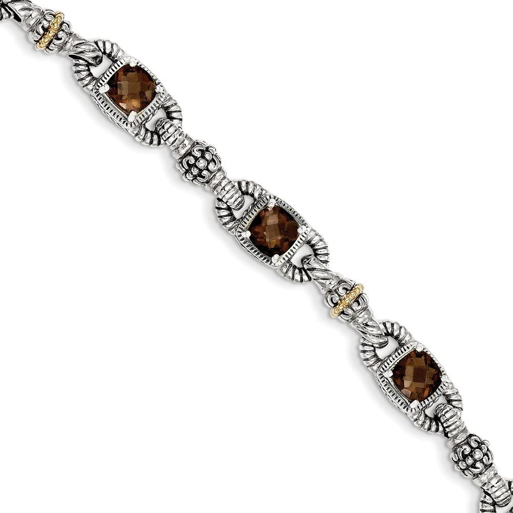 Sterling Silver with 14k 7.25in Bracelet Quartz Ranking We OFFer at cheap prices TOP20 5.14Smokey