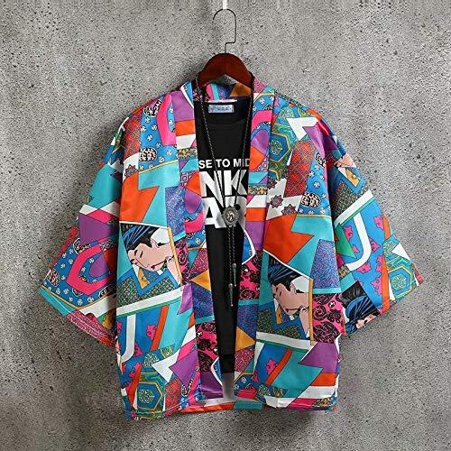 Retro Ukiyo-e Impresión del Traje Chaqueta De Punto Suelta Kimono De Protección Solar Estilo Chino Masculina SYXMSM (Color : 3, Size : XXL)