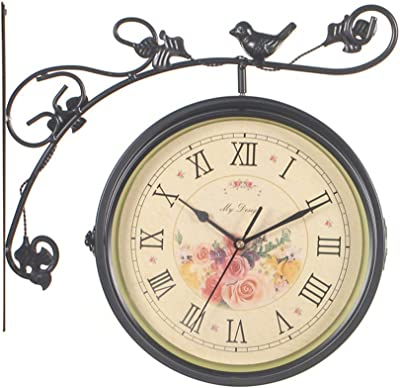 CKH European Retro Flower Bird 360 Degree Rotating Wall Clock Wrought Iron Double-Sided Living