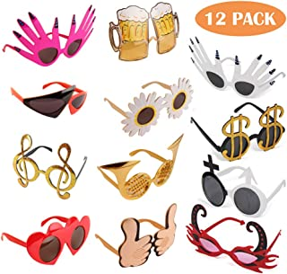 TD.IVES Funny Glasses Party Sunglasses Costume Sunglasses,12 Pack Cool Shaped Funny Party Hats