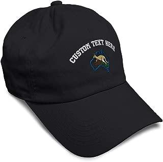 Custom Soft Baseball Cap Australia & Kangaroo Embroidery Twill Cotton