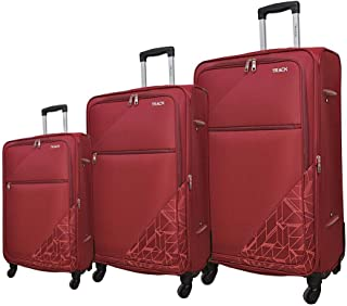 Track Fabric Luggage Trolley Bag, 4 Wheels, 3 Pieces - Red