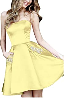 MYDRESS Strapless Short Prom Dresses Satin A-Line Beaded Open Back Homecoming Dress 2019 with Pockets