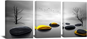 Modern Bathroom Yellow Gray Wall Art Picture Balance Stone Pebble Canvas Print Black and White Tree Zen Artwork Wall Decor for Office Bedroom
