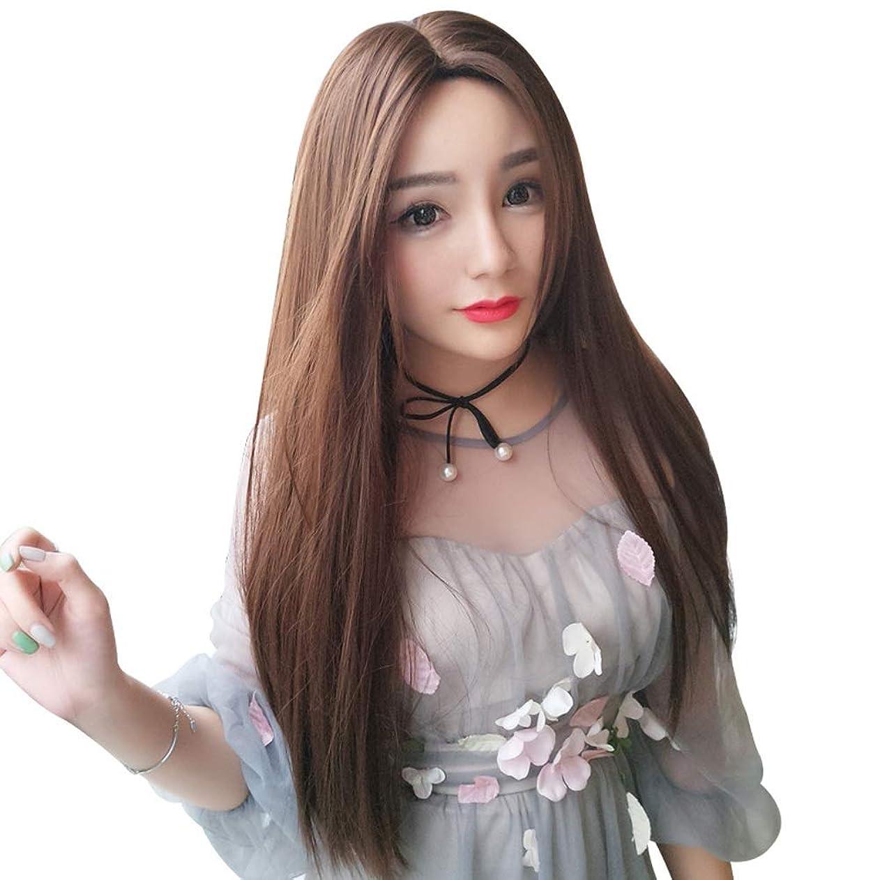 SRY-Wigファッション 前髪耐熱髪の女性アフロロングストレートかつらのファッションチョコレート合成レースフロントかつら