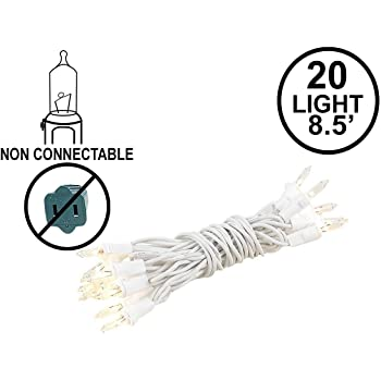 8 Long Novelty Lights 20 Light Blue Christmas Craft Mini Light Set Non-Connectable White Wire