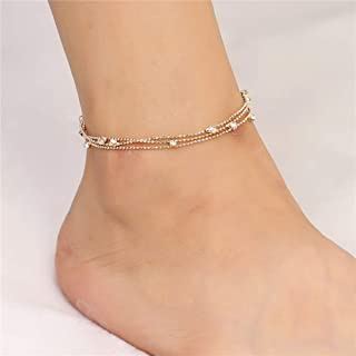 Tgirls Multi-Layered Crystal Anklet Rosary Ball Foot Chain Bracelet Beach Jewelry for Women and Girls