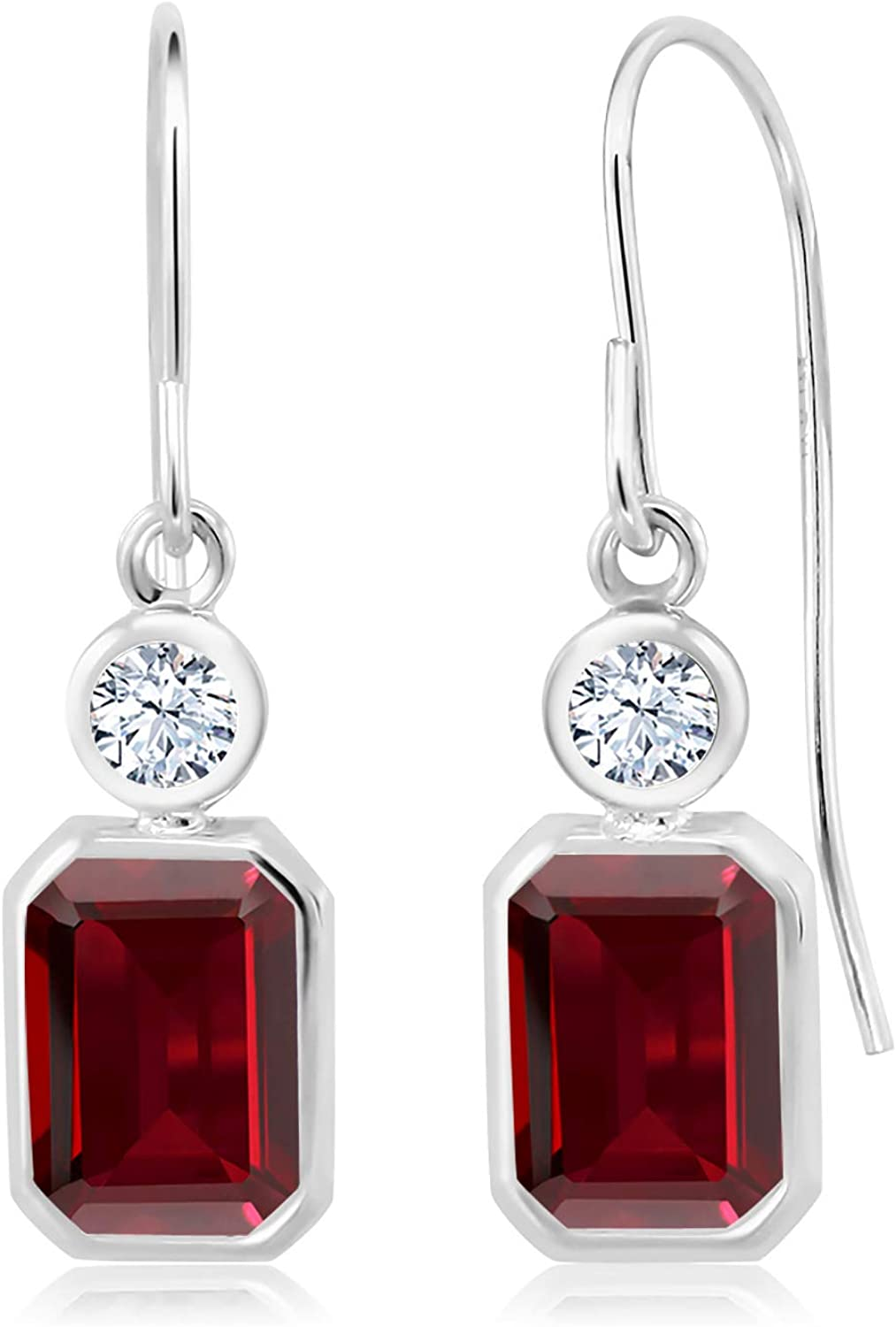 Gem Stone King 3.86 Ct 55% Challenge the lowest price of Japan OFF Emerald Cut Red Garnet White Created Sapp