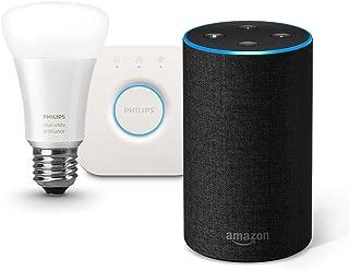 Amazon Echo、チャコール (ファブリック) + Philips Hue ホワイトグラデーション シングルランプ + Philips Hue ブリッジ