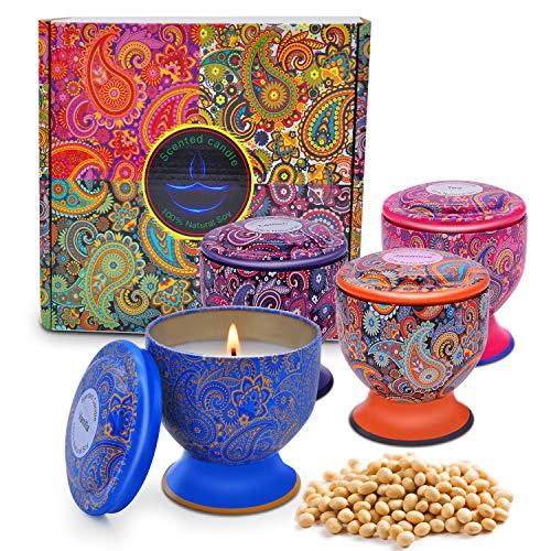 Enamorare Scented Candles Natural Soy Wax 4 Oz Portable Travel Tin Candles Gift Set of 4 (Vanilla,Jasmine,Green Tea&Lemon)