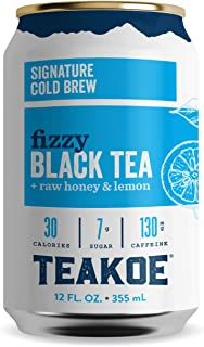 TEAKOE Fizzy Tea | 100% Organic Black Tea w/ Raw Honey & Lemon | Cold Brew Iced Tea, Real Lemon Juice | Naturally Sweet, Tea Energy | 30 Calories, 7g Sugar, 130mg Caffeine (12/12 fl oz Tea Cans)