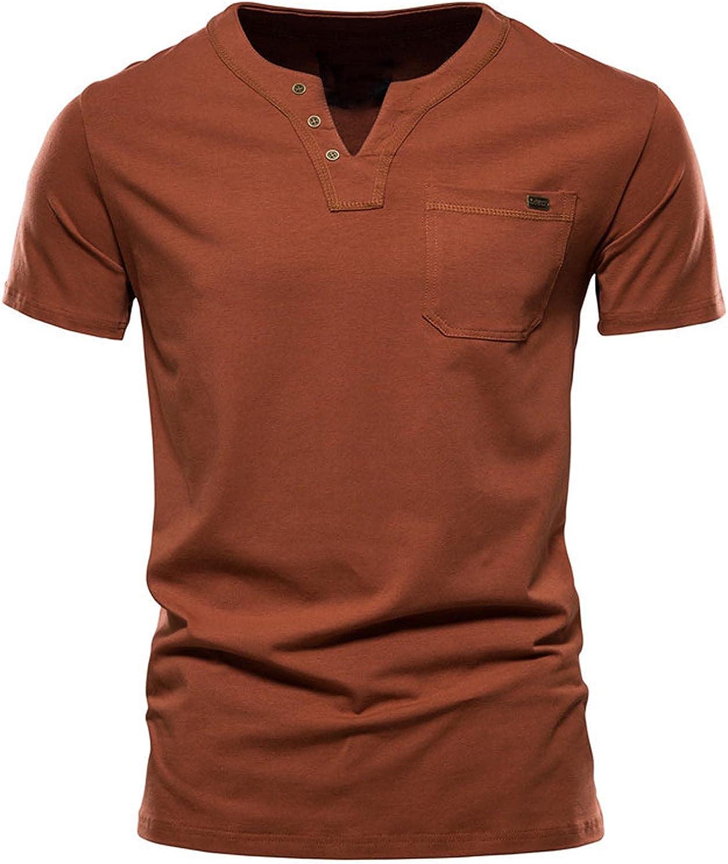 Men's Henley V-Neck Tee Tops Casual Short Sleeve Athletic T-Shirt for Men Sweatshirt with Pocket