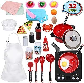 Anpro 32 PCS Kit de Cocina para Niños,Juguetes de Cocina Set,Juego de Cocina con Utensilios de Cocina,Juguete de Corte,Fru...