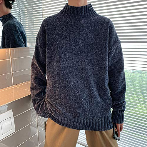 JFHGNJ Mannen Coltrui Winter Mode Gebreide Coltrui Mannen Winter Coltrui Man Pullover-navy blauw_IT