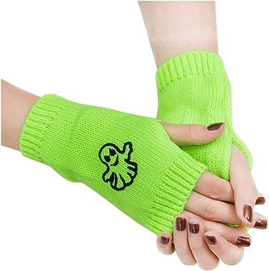 DDLmax Women Knit Fingerless Gloves Warm Knit Crochet Thumbhole Arm Warmers Winter Stretchy Soft Wrist Warmers Mittens Adult