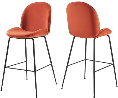 Modway EEI-4639-ORA Scoop Black Powder Coated Steel Leg Performance Velvet Bar Stool, Orange