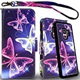 Mefon Galaxy S9 Wallet Case Leather Detachable, Durable Slim, Enhanced Magnetic Closure, with Wrist Strap, Card Slot, Kickstand, Luxury Flip Folio Phone Cases for Samsung Galaxy S9 5.8 (Butterfly 2)