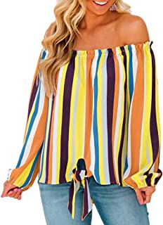 Women's Striped Off Shoulder Blouse, AgrinTol Women Long Sleeve Shirt Tie Knot Casual Tops
