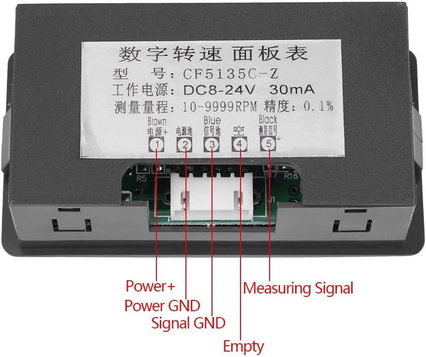 Yanmis Digitaler Drehzahlmesser Blau Drehzahlmesser Hall-N/äherungsschalter Sensor NPN DC8-24V 30mA 4 Digitaler Drehzahlmesser mit roter//Blauer LED