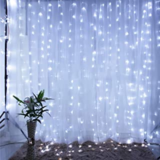 Qunlight Star 304 LED 9.8ftx9.8ft 30V 8 Modes with Memory Window Curtain String Lights Wedding Party Home Garden Bedroom Outdoor Indoor Wall Decorations(Cool White)