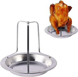 Chicken Roaster Rack, Stainless Steel Non-Stick Vertical Chicken Holder BBQ Chicken Roasting Stand for Grill Smoker or Oven with Deep Drip Pan, Dishwasher Safe Barbecue Chicken Stand …