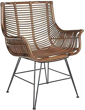 OSP Home Furnishings Dallas Rattan Club Chair, Brown