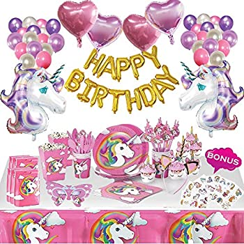HappyThousands Unicorn Party Supplies Set | 179 pcs Unicorn Birthday Decorations for Girls | Unicorn Party Favors with Tableware kit Unicorn Balloons Gift Bags Popcorn Boxes Cupcake toppers and Wrappers Headband Tattoos | Serve 10