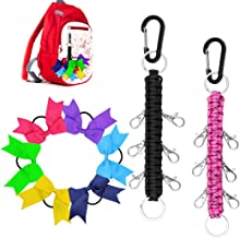 Yotako Paracord Cheer Bows Holder, 2 Pack Handmade Keychain Bow Organizer with 6 Pcs Cheer Bows Hanger for Cheerleading Girls Cheer Bow Storage Black Pink
