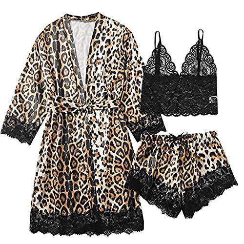Denkein Women's Pyjama Set 3 Pieces Sexy Satin Lace Leopard Kimono Sleepwear Robe Cami and Short Babydoll Dressing Gown Silk Comfortable