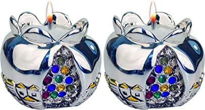TALISMAN4U Shabbat Candle Holders Silver Tone Pomegranate Candlesticks Set with Multi Color Hoshen Stones Jerusalem Design...