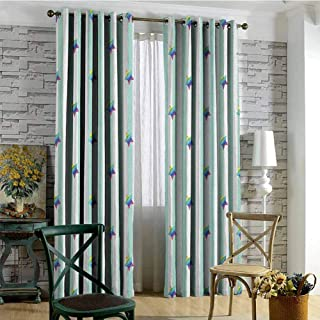 hengshu Star 99% Blackout Curtains Retro Style Pattern with Vertical Stripes and Rainbow Colored Stars Joyful Hipster for Bedroom Kindergarten Living Room W84 x L108 Inch Multicolor