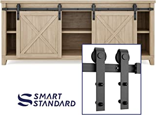 SMARTSTANDARD 6.6FT Mini Sliding Barn Door Cabinet Hardware Kit for Cabinet TV Stand Closet, Black, One-Piece Track Rail, Easy to Install, Fit 26
