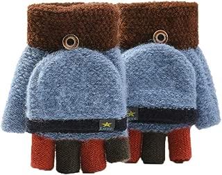 Smoxx Winter Knitted Fingerless Gloves, Convertible Flip Top Mittens Warm Glove for Women Men