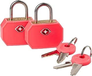 Lewis N. Clark Travel Sentry TSA Lock + Mini candado para veliz, equipaje de mano, mochila, bolsa para portátil o bolso – perfecto para aeropuerto, hotel y gimnasio (incluye 4 llaves) – 2 unidades, color rosa