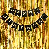 Caulfield Banner de feliz cumpleaños Banderines de cumpleaños con cortinas de...