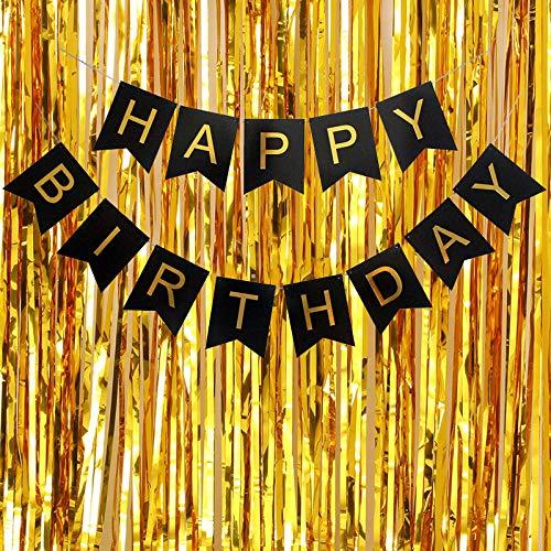Caulfield Geburtstagsdeko alles Gute zum Geburtstag Banner Geburtstag Bunting mit goldenen Folie Fransen Vorhänge wiederverwendbare Geburtstagsfeier Dekorationen