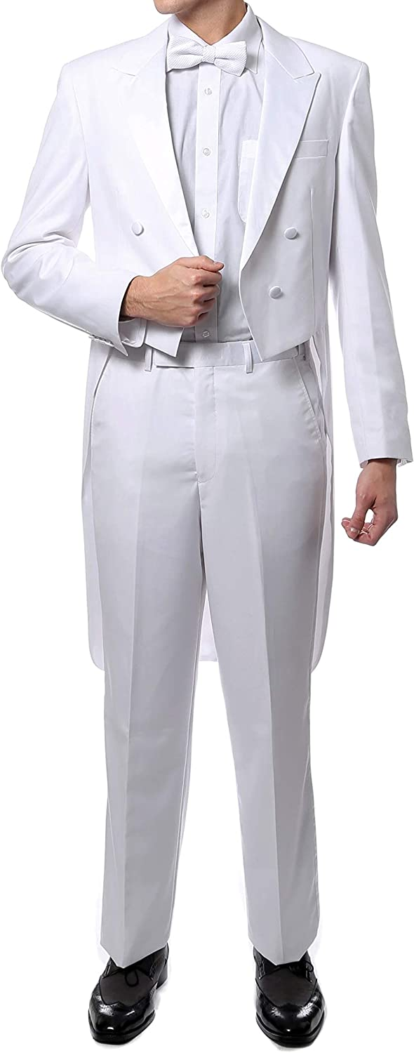 New Era Factory Outlet Men's White Tuxedo Tails Includes Tailcoat and Tuxedo Pants