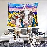 Tapiz de girasol de vaca para colgar en la pared, decoración del hogar, para dormitorio, dormitorio de 152 x 152 cm
