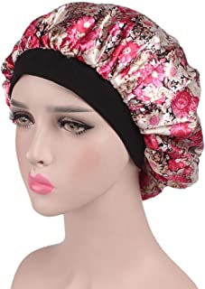 Fmystery Women's Satin Floral Wide-brimmed Hair Band Sleep Cap Muslim Hat Hair Cap